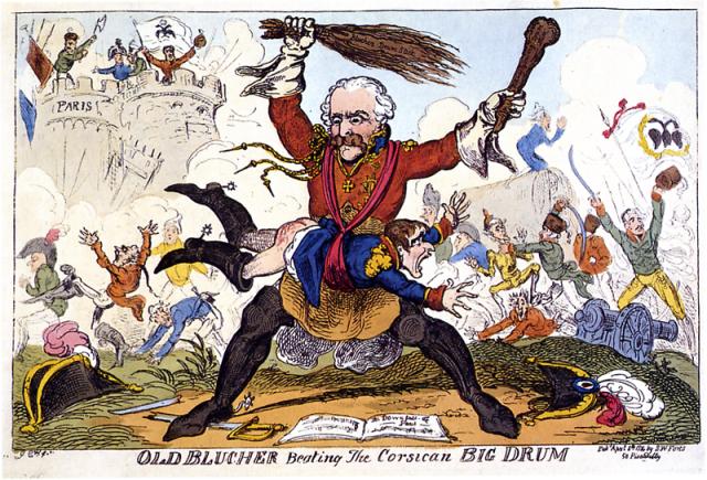 Cruikshank_-_Old_Blucher_beating_the_Corsican_Big_Drum
