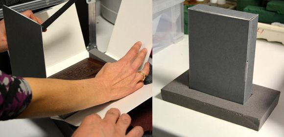 Two images stitched together. Left: someone places the volume into the box. Right: The closed phase box stands upright surrounded by a piece of grey foam.