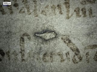 An even closer look at the text. There is a what looks like a hole--damage to the skin--in a oval-like shape. The right side of the oval is curved as normal but the left side is shaped like the edge of a triangle.