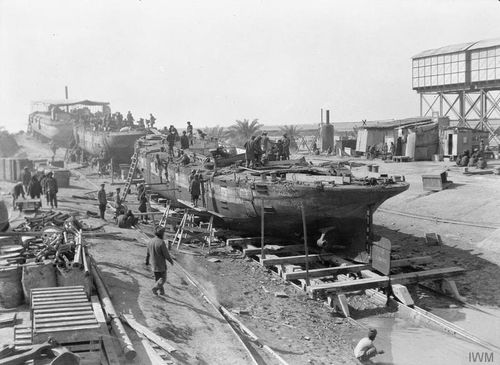 Slipway at the Inland Water Transport Docks at Magi, 1917