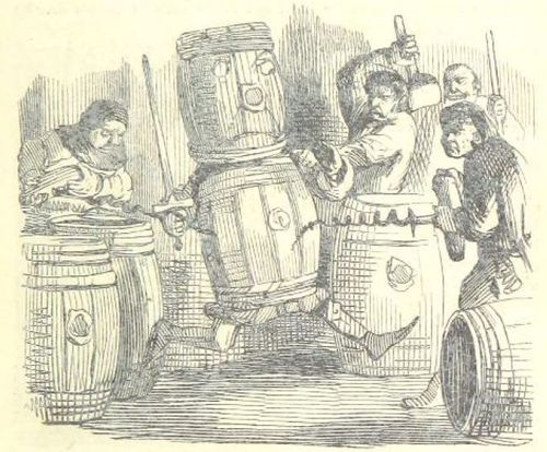 A man in a barrel with another barrel on his head and a sword in his hand