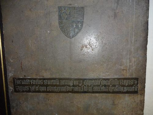 Close up of inscription on memorial brass in St Mary's Church, Twickenham