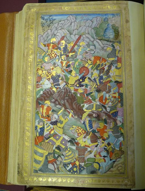 Battle of Panipat in 1526, from the Baburnama ('Memoirs of Babur') by Deo Gujarati, 1590-93. British Library, Or.3714, f.368r