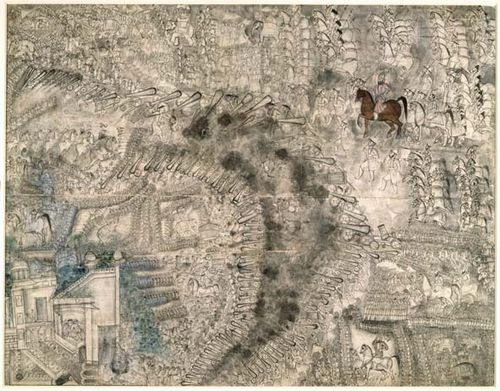 Battle of Panipat, 13  January 1761, Mughal, c.1761. British Library, Johnson Album 66,3.