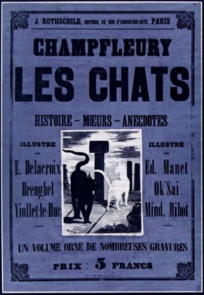 Cover of 'Les Chats' with a picture of two cats on a roof