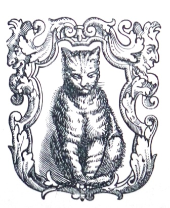 Printer's device of a cat sitting in a decorated frame