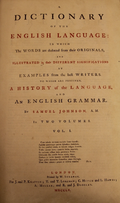 Samuel Johnson's Dictionary - title page