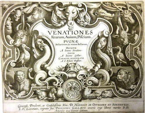 Engraved title page of 'Venationes Ferarum, Avium, Piscium', with pictures of various animals