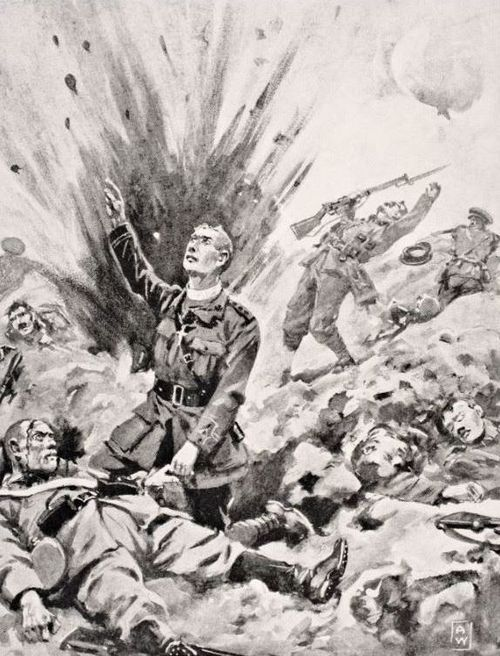 Reverend John Gwynn, chaplain to the Irish Guards, giving the last sacrament to a dying German soldier just before he himself was killed on Hill 70 at the Battle of Loos, October 1915