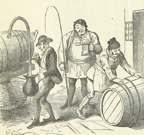 Brewery scene with beer barrels