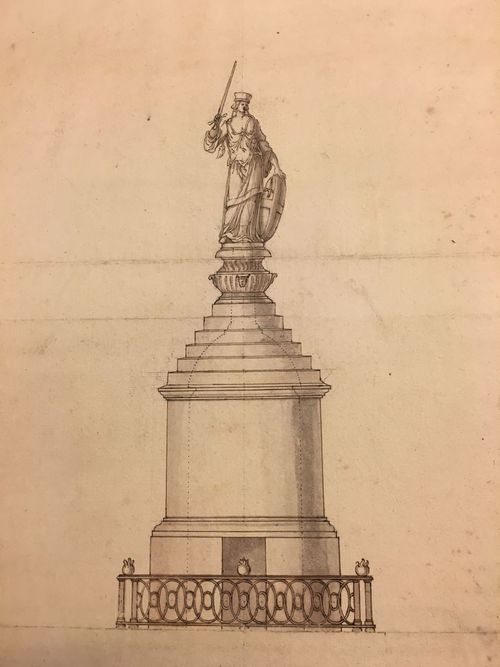 Advisory drawing of a statue of Augusta for the termination of the Monument, 1675