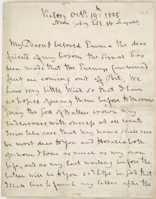 Horatio Nelson's letter to Emma Hamilton, 19 October 1805