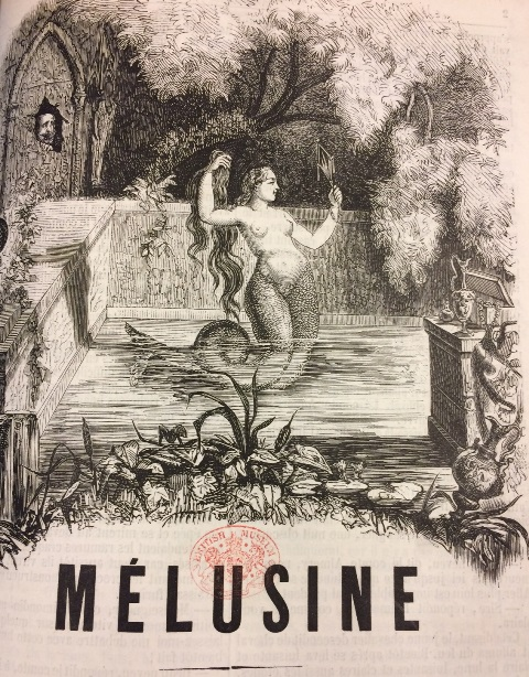 Picture of the serpent-tailed Mélusine bathing while a man secretly looks on