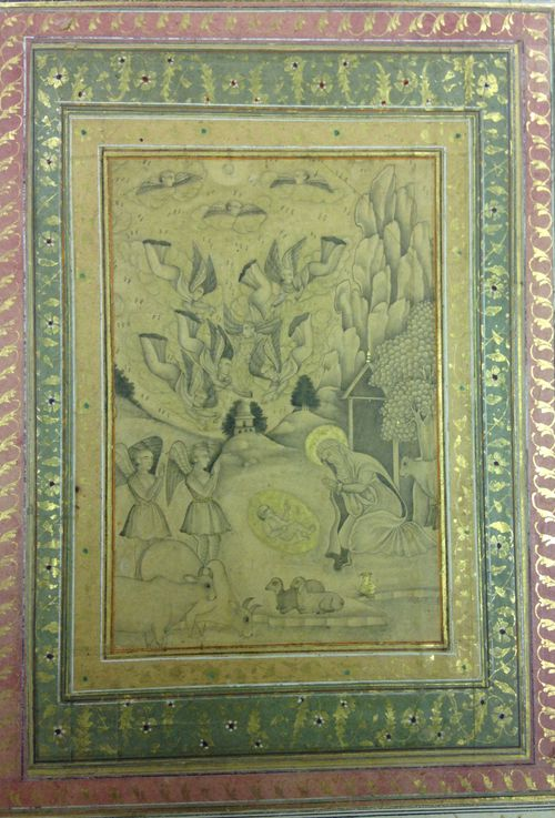 The Virgin worshipping the Christ Child with angels.  Deccani , 1640-60.  Wash drawing with gold.  182 by 128 mm.  British Library, J.6, 2.fc