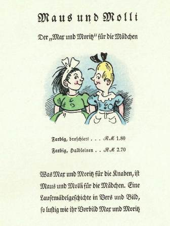 An advertisement for the book 'Maus und Molli'