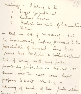 Extract from a letter by Bertram Thomas