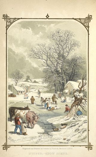 Winter snow scene in countryside