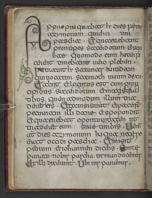 A page from the Book of Nunnaminster, showing a large decorated initial.
