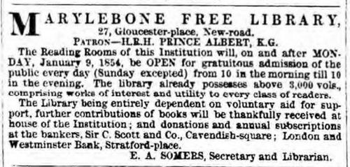 Newspaper notice about opening of Marylebone Free Library