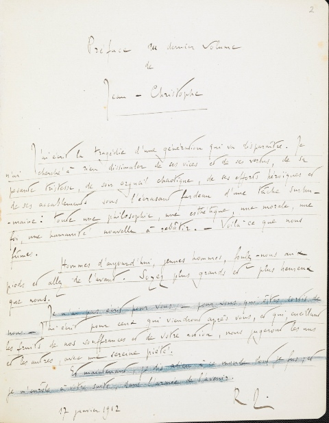Rolland's manuscript of the preface to 'Jean-Christophe', with some lines crossed out in blue pencil