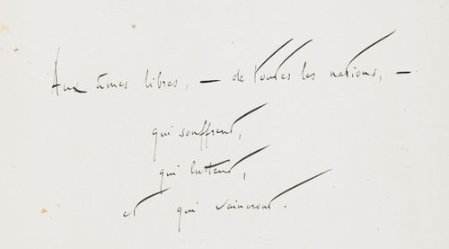 Handwritten dedication from Rolland's 'Jean-Christophe'