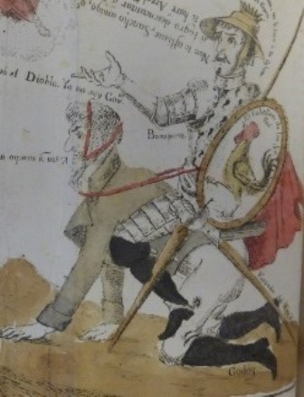 Detail of a caricature showing Napoloeon as Don Quixote and Manuel Godoy as his horse