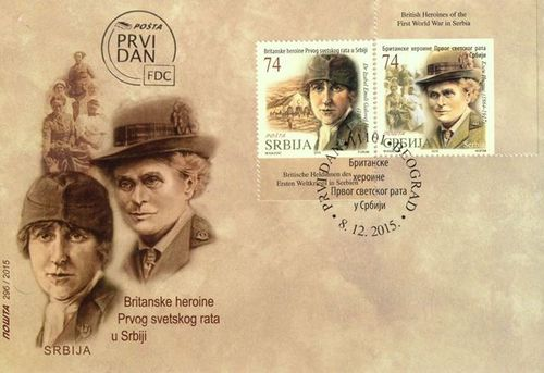 Stamps with portraits of Isabel Hutton and Elsie Inglis