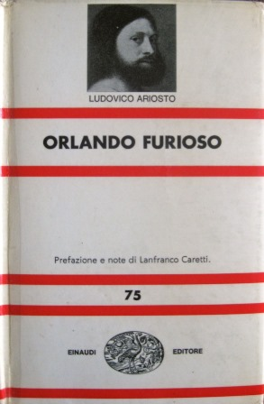 Cover of a copy of 'Orlando Furioso' with a portrait supposedly of Ariosto