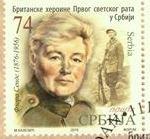 Serbian postage stamp commemorating Flora Sandes