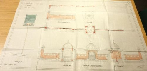 Woking Mosque - coloured elevation drawing for the burial ground enclosure