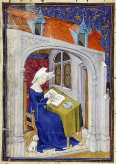A detail from a medieval manuscript, showing an illustration of Christine de Pizan writing at her desk.