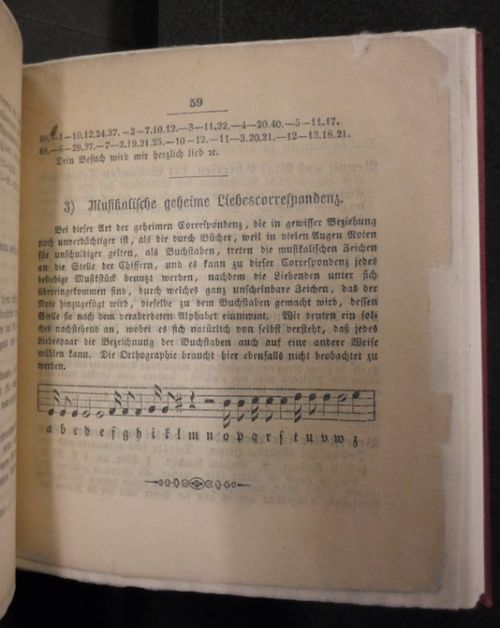 Page on secret communication by musical code