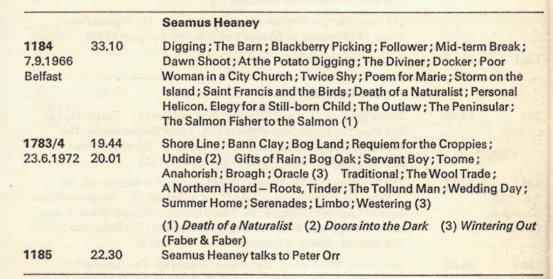 Heaney Catalogue