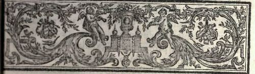 Decorative page header with a pattern of foliage and putti