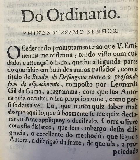 Preface to 'Brados do desengano', explaining that the author's name is an anagram