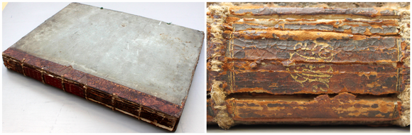 Two images show the condition of the volume prior to conservation treatment. On the left, the book rests on a table, showing a generally degraded and dirty appearance. On the right is a close-up of the spine, showing cracked brown leather.