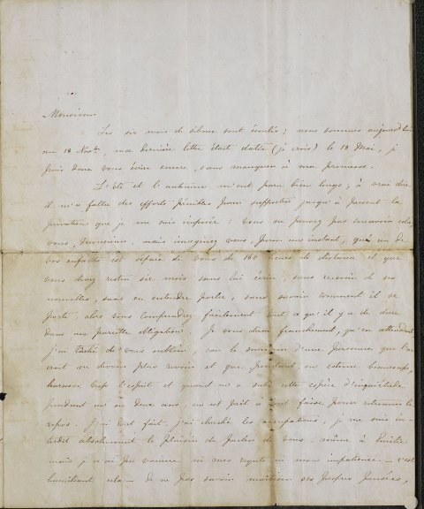 Opening of a manuscript letter from Charlotte Bronte to Constantin Heger