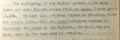 Extract of a translation of a letter written by Herr Harling to the Imperial German Consulate in Bushire, 24 October 1914.