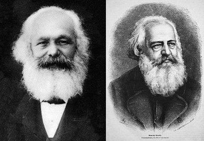 Portraits or Marx (left) and Bendix (right) with similar large beards