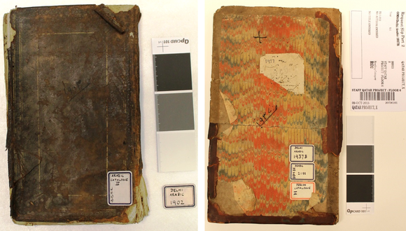 The two manuscripts side by side before treatment. The manuscript on the left has dark brown leather cover which has degraded at the edges. On the right is a manuscript with a marbled cover in orange and yellow colours, with a brown leather around the edges that is quite degraded.