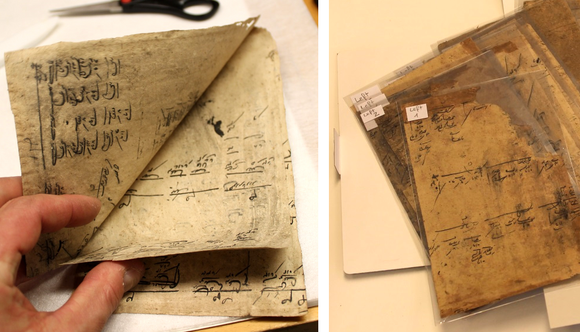 On the left, a hand lifts some of the separated pages. On the right, the separated pages have been placed in polyester sleeves.