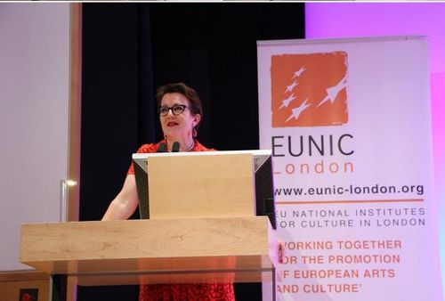 Rosie Goldsmith speaking at European Literature Night 2015