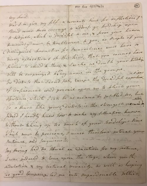Letter written by Bellamy amongst the private papers of Robert Clive