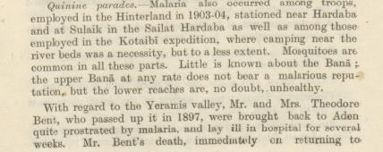 Reference in Field Notes: Aden Protectorate (1917) to the death there in 1897 of Theodore Bent