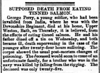 Newspaper report on death from tinned salmon