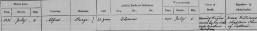 Burial register entry for Alfred Burge