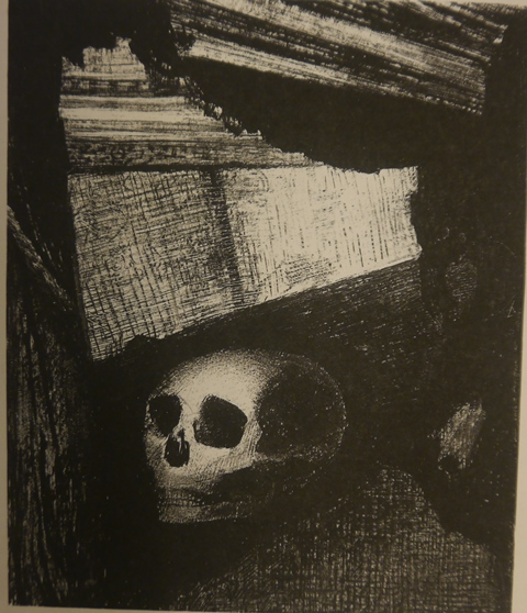 Black-and-white drawing of a skull on a windowsill