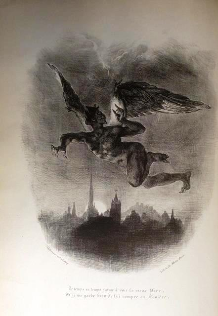 Mephistopheles flying above the skyline of a city