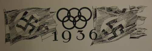 Vignette of the Olympic rings over the date 1936, flanked by Nazi swastika flags