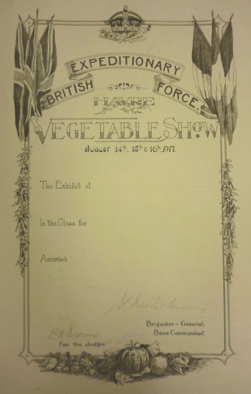 Certificate for the 1917 British Expeditionary Force vegetable show